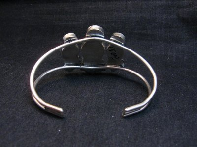 Image 3 of Zuni Indian Three Maiden MultiInlay Silver Bracelet By Joyce Waseta