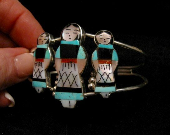 Image 6 of Zuni Indian Multi Maiden Inlay Silver Bracelet By Joyce Waseta