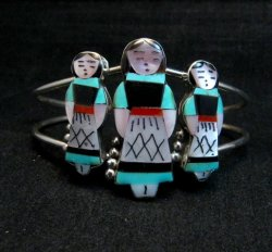 Zuni Indian Three Maiden MultiInlay Silver Bracelet By Joyce Waseta