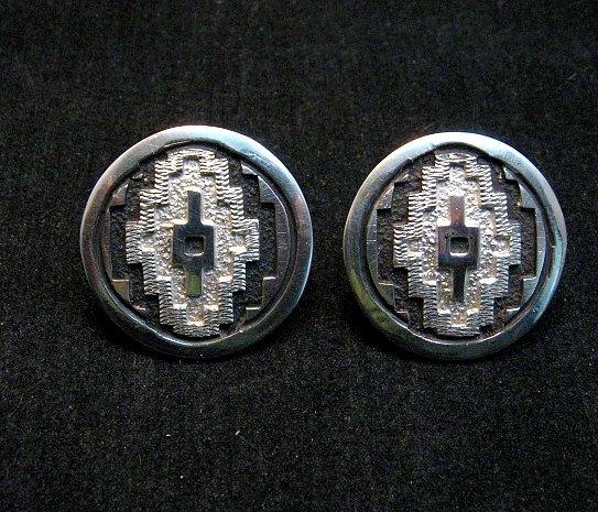 Image 1 of Dan Jackson Navajo Native American Rug Design Silver Earrings