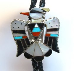 Zuni Multi Inlay Thunderbird Bolo, Bobby Shack