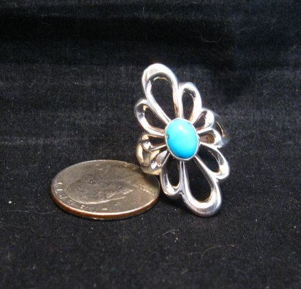 Image 0 of Fancy Navajo Tufa Sterling Silver Turquoise Ring sz9