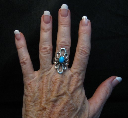 Image 2 of Fancy Navajo Tufa Sterling Silver Turquoise Ring sz9