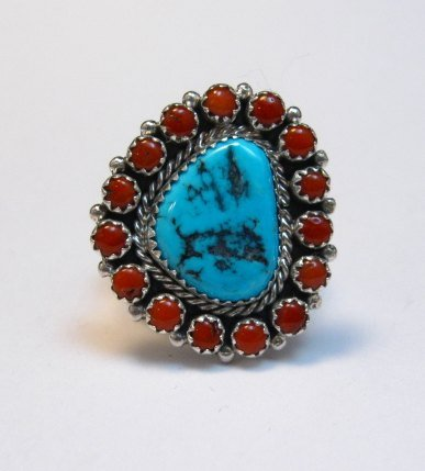 Image 0 of Navajo Native American Turquoise Coral Cluster Silver Ring sz9-1/2