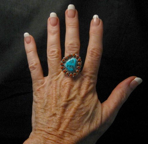 Image 1 of Navajo Native American Turquoise Coral Cluster Silver Ring sz9-1/2