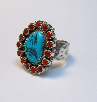 Image 2 of Navajo Native American Turquoise Coral Cluster Silver Ring sz9-1/2