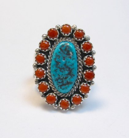 Image 0 of Navajo Gaynell Parker Turquoise Coral Cluster Silver Ring sz10