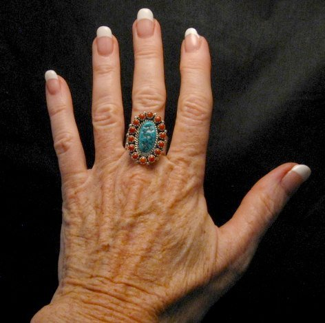 Image 2 of Navajo Gaynell Parker Turquoise Coral Cluster Silver Ring sz10