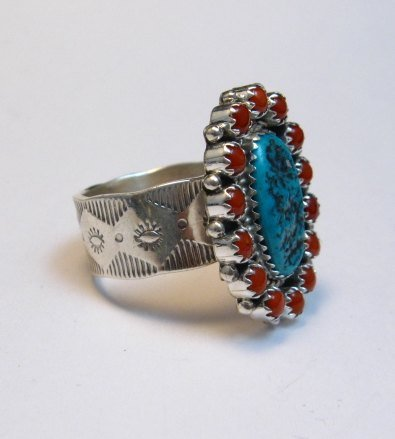 Image 3 of Navajo Gaynell Parker Turquoise Coral Cluster Silver Ring sz10