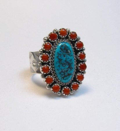 Image 4 of Navajo Gaynell Parker Turquoise Coral Cluster Silver Ring sz10