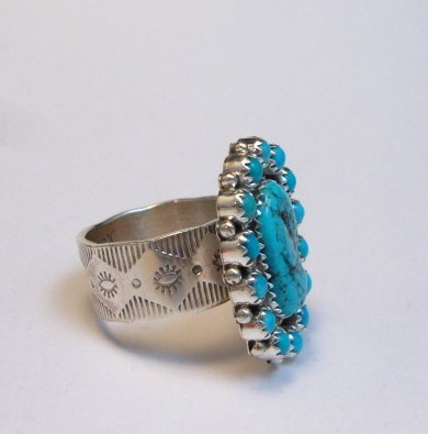 Image 1 of Navajo Native American Turquoise Cluster Silver Ring sz9, Gaynell Parker