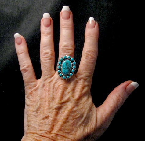 Image 2 of Navajo Native American Turquoise Cluster Silver Ring sz9, Gaynell Parker