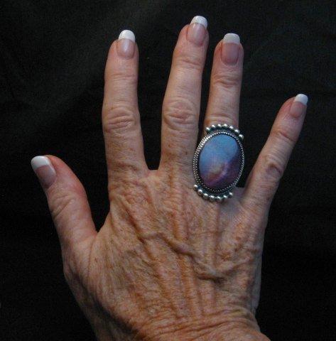 Image 2 of Navajo Purple Spiny Oyster Ring by Betty Joe sz7-3/4