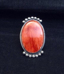Betty Joe Navajo Orange Spiny Oyster Ring sz7-1/2