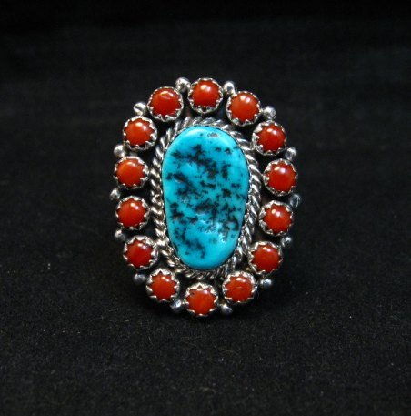 Image 0 of Navajo Gaynell Parker Turquoise Coral Silver Ring sz8-7/8