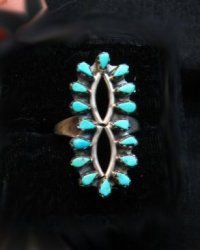 Vintage Native American Turquoise Cluster Silver Ring Sz6-1/2