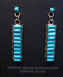 Native American Zuni Turquoise Sterling Silver Earrings, Gloria Tucson
