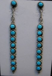Long Zuni Turquoise Sterling Silver Earrings, Verde Booqua