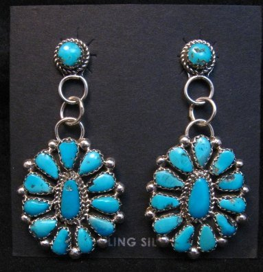 Image 1 of Navajo Turquoise Cluster Silver Earrings, Eunice Wilson