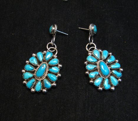 Image 0 of Navajo Turquoise Cluster Silver Earrings, Eunice Wilson