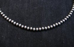 Native American 4mm Bead Navajo Pearls Sterling Silver Necklace 22-inch long
