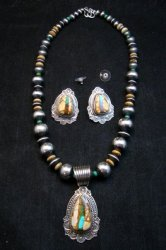Navajo Royston Ribbon Turquoise Necklace Earring Set, Albert Jake