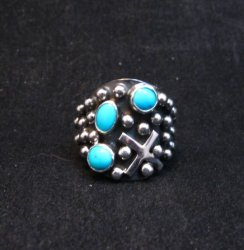 Navajo Ronnie Willie Turquoise Silver Cross Ring sz7-1/2