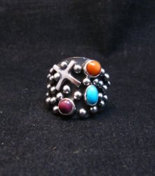 Navajo Ronnie Willie Multigem Four Corners Cross Ring sz6-1/2