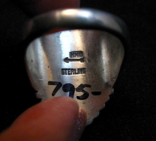 Image 2 of Navajo Harry H Begay Hammered Ingot Sterling Silver Ring sz12