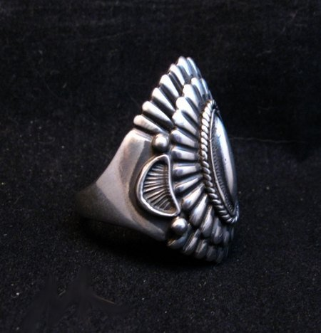 Image 3 of Navajo Harry H Begay Hammered Ingot Sterling Silver Ring sz12