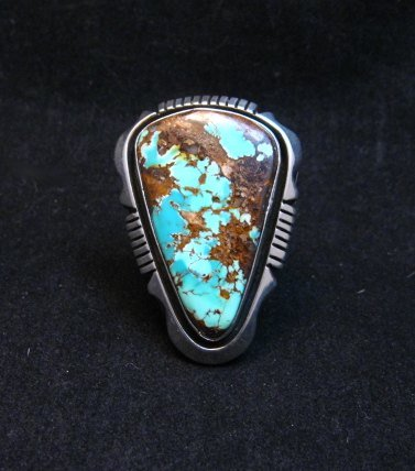 Image 1 of Navajo Native American Turquoise Ring sz9, Lonnie Willie