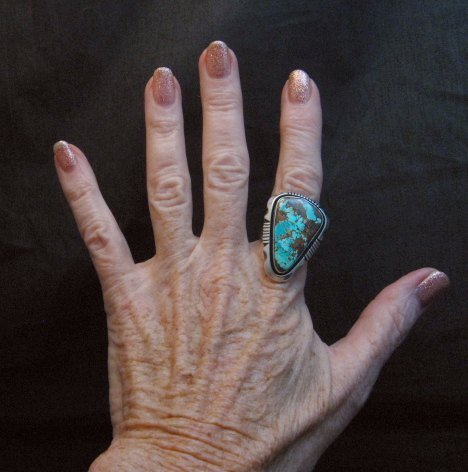 Image 5 of Navajo Native American Turquoise Ring sz9, Lonnie Willie
