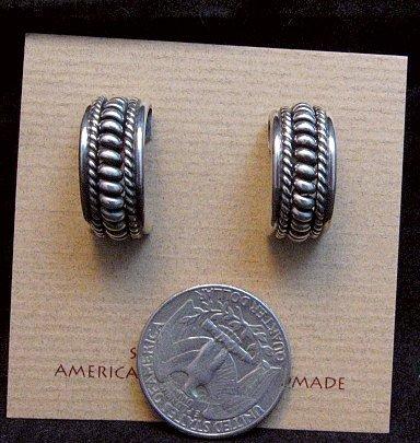Image 2 of Native American Navajo Sterling Silver Half Hoop Earrings Priscilla Apache