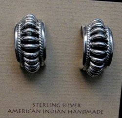 Native American Navajo Sterling Silver Half Hoop Earrings Priscilla Apache