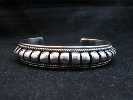 Image 2 of American Indian Navajo Priscilla Apache Sterling Silver Ribbed Bracelet