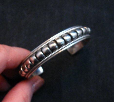 Image 1 of American Indian Navajo Priscilla Apache Sterling Silver Ribbed Bracelet