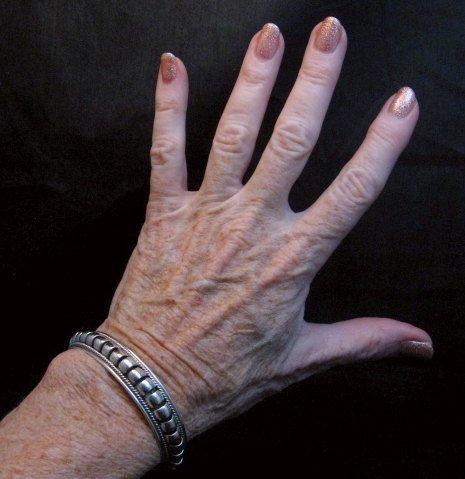 Image 4 of American Indian Navajo Priscilla Apache Sterling Silver Ribbed Bracelet