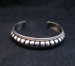 American Indian Navajo Priscilla Apache Sterling Silver Ribbed Bracelet