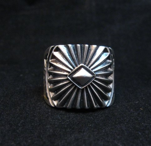 Image 0 of Old Pawn Style Navajo Sterling Silver Ring Sz13, Derrick Gordon