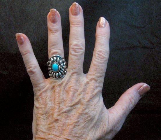 Image 3 of Fancy Darryl Becenti Navajo Sleeping Beauty Turquoise Ring sz6