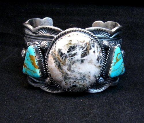Image 4 of Navajo Old Pawn Style White Buffalo & Royston Turquoise Bracelet by Gilbert Tom