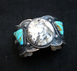 Navajo Old Pawn Style White Buffalo & Royston Turquoise Bracelet by Gilbert Tom