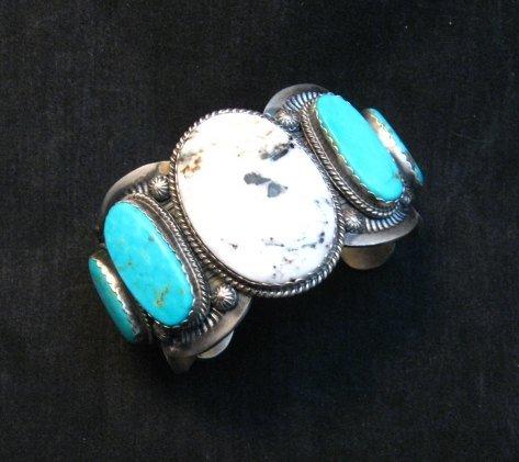 Image 1 of Navajo White Buffalo Turquoise Bracelet, Native American Gilbert Tom