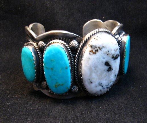 Image 2 of Navajo White Buffalo Turquoise Bracelet, Native American Gilbert Tom