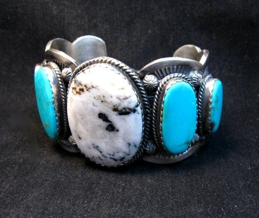 Image 3 of Navajo White Buffalo Turquoise Bracelet, Native American Gilbert Tom