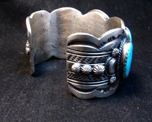 Image 5 of Navajo White Buffalo Turquoise Bracelet, Native American Gilbert Tom