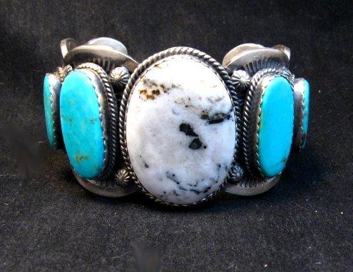 Image 6 of Navajo White Buffalo Turquoise Bracelet, Native American Gilbert Tom