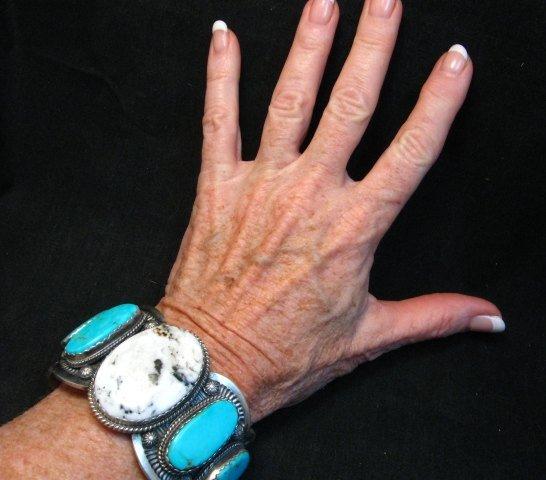 Image 4 of Navajo White Buffalo Turquoise Bracelet, Native American Gilbert Tom