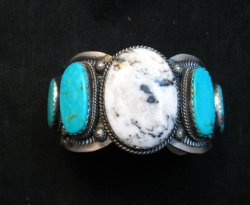 Navajo White Buffalo Turquoise Bracelet, Native American Gilbert Tom
