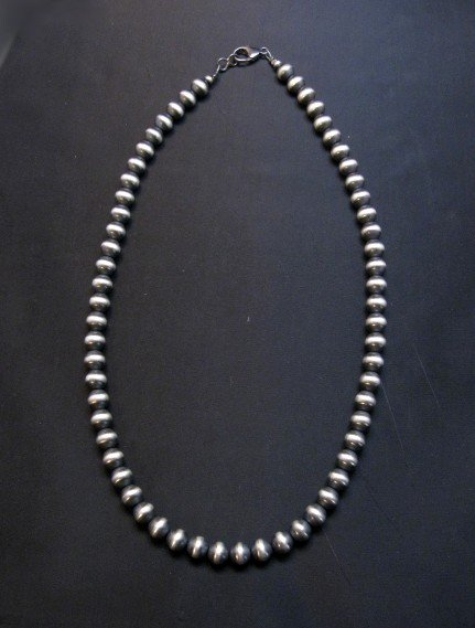 Image 0 of Native American 8mm Bead Navajo Pearls Sterling Silver Necklace 20inch